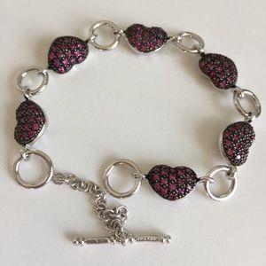 OTC 925. Thailand Ruby Pave Puffy Heart Bracelet